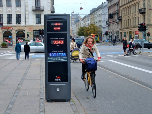 A bicycle counter in Copenhagen, one of the busiest bike cities in the world.